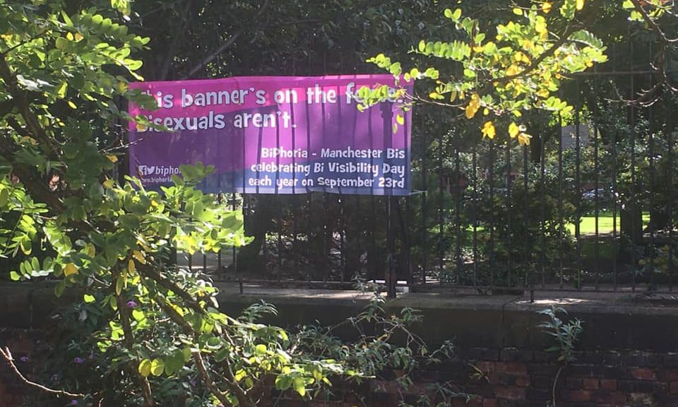"a banner on a fence in the bisexual flag colours saying ""This banner's on the fence. Bisexuals aren't"""